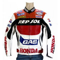 New Honda Gas Repsol Motorcycle Leather Jacket Padded XS TO 6XL