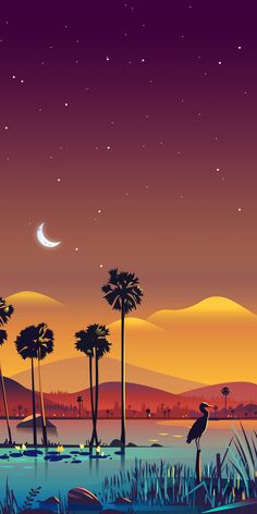 Sükut-u Lisan Selameti İnsan Desert Night Oasis with Palm Trees - Vector Art Wallpaper Scenery Wallpaper, Nature Wallpaper, Cool Wallpaper, Hero Wallpaper, Cellphone Wallpaper, Galaxy Wallpaper, Lock Screen Wallpaper Iphone, Phone Backgrounds, Wallpaper Backgrounds