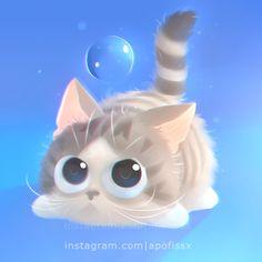 chi neko by Apofiss on DeviantArt Cute Animal Drawings, Kawaii Drawings, Jing Y Jang, Animal Pictures, Cute Pictures, Cat Drawing, Beautiful Cats, Cat Art, Neko