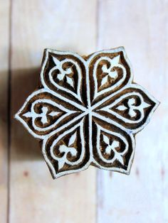 Unique Flower Motif Indian Hand Carved Wood Block Stamp (REDUCED). 2""