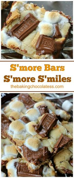 S'more Bars = S'more S'miles S'more Bars = S'more S'miles - Delicious combination of rich milk chocolate bar chunks, bits of graham cracker and melty, toasted gooey marshmallows baked in cookie dough with a graham cracker crust as well. Dinner Party Desserts, Summer Dessert Recipes, Dessert Party, Oreo Dessert, Easy Desserts, Easy Delicious Desserts, Picnic Desserts, Baking Desserts, Sweet Desserts