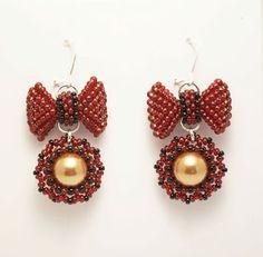 kolczyki plecione kokardki/ beaded bow earrings