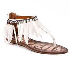 White Feather Sandals