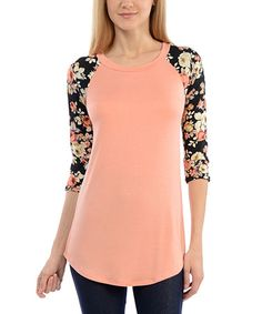 Look what I found on #zulily! Peach & Black Floral Lace-Sleeve Boatneck Tee #zulilyfinds