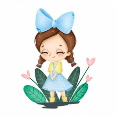 Cute cartoon little girl in a blue dress with a big bow on her head and two pigtails smiling on a white background , Name Wallpaper, License Photo, Design Floral, Big Bows, Photos For Sale, Drawing For Kids, Cute Cartoon, Blue Dresses, Little Girls