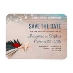 Tropical Beach Destination Wedding Save the Date Magnet - cyo diy customize unique design gift idea