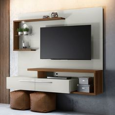 Panel TV up to 60 inches Floripa Off White and Nogueira Modern Tv Room, Modern Tv Wall Units, Modern Living, Modern Tv Unit Designs, Tv Console Modern, Minimalist Living, Modern Wall, Tv Unit Furniture Design, Tv Unit Interior Design