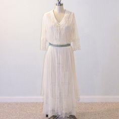 Antique Edwardian Dress 1910s Dress Ivory Cotton by daisyandstella, $250.00