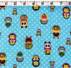 Kokka  Glitter Russian Animal Nesting Dolls on by fabricsupply, $3.25
