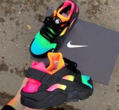 Nike Shoes OFF!> pitch-black-custom-nike-air-huarache-x-rainbow-eyeconicwear Nike Air Huarache, Nike Huarache Women, Jordan Shoes Girls, Girls Shoes, Ladies Shoes, Cute Sneakers, Sneakers Nike, Colorful Sneakers, Nike Trainers