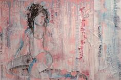 NUDE - STUDIUM - mixed media, painting on panels by Robert Andler-Lipski. 183.0 cm x 123.0 cm 2015