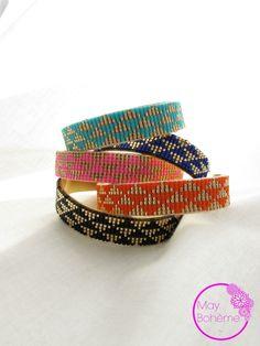 MANCHETTE GOLDY COLORS DE BAHIA – Manchette perles tissées chevron : Bracelet par may-boheme