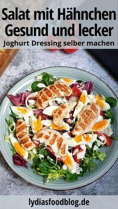 Frischer Salat mit Joghurt Dressing, Rezept A fresh salad with roasted chicken and homemade yoghurt Colorful Vegetables, Veggies, Healthy Diet Plans, Healthy Recipes, Homemade Yogurt, Le Diner, Dressing Recipe, Roasted Chicken, Fried Chicken