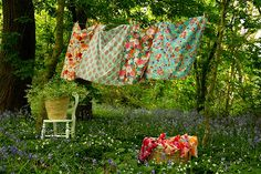 Pretty linens in a wild garden.....