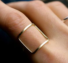 moderne vierkante ring goud zilver vierkante ring door museglass