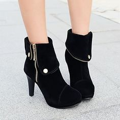 Women's Shoes Platform Round Toe Stiletto Heel Ankle Boots with Zipper More Colors available - GBP £ 31.94