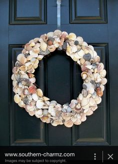 Seashell wreath for summer! All you need is a trip to the coast or lake and a hot glue gun with a pool noodle