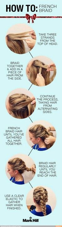 Step by step how to French braid your hair to be honest it's easier to have someone else do it while following the steps but you can still do it yourself if you have the patience: