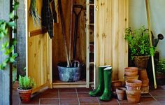 Create lean-to storage with tongue-and-groove cedar