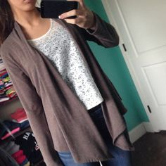 Brown cardigan. Size small! Practically new. From rue 21. Size small brown cardigan/ shaw type cover up. Has a cotton feel. Very comfortable! Rue 21 Sweaters Cardigans