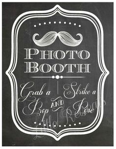 DIY. PRINTABLE PDF. Photo Booth Sign. Photo Booth Prop. Photobooth Prop. Photo Booth.Chalkboard Sign, Wedding Reception. Chalk. $9.00, via Etsy.
