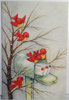 Here come your Christmas cards! Christmas Bird, Christmas Scenes, Retro Christmas, Christmas Greetings, Christmas Crafts, Christmas Mail, Images Vintage, Vintage Christmas Images, Vintage Holiday