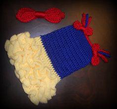 Crochet Princess Tutu Dress & Matching Bow Headband  Baby Costume Handmade Photo Prop. $55.00, via Etsy.