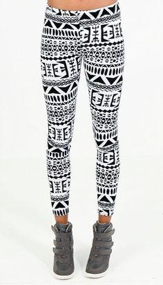 Black and White Aztec Leggings | OMG Fashion Leggings