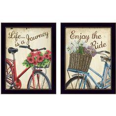 Trendy Decor 4U 'Vintage Bicycles Life is a Journey' by Debbie DeWitt 2 Piece Framed Graphic Art Set