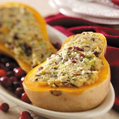 Rice-Stuffed Butternut Squash Recipe from Taste of Home -- shared by Elaine Sweet of Dallas, Texas