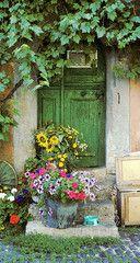Green door. Rothenburg, Bavaria. Germany. By D. Barloga