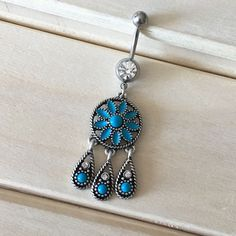 Boho Turquoise Dream Catcher Belly Button Ring