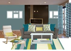 Modern Living room with teal accents - DolledUpDesign