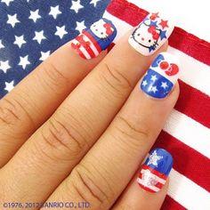 blue, fourth of july, hello kitty, nail polish