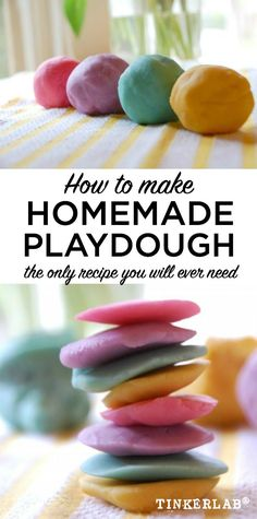 This is the BEST homemade playdough recipe. Mix together: Flour, Oil, Water, Cream of Tartar, Salt, Hot Water. Add food coloring or liquid watercolors. It can last for months!