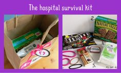 The Hospital Survival Kit - a bag full of those extra things that help make a new mother's stay at the hospital a little more tolerable. And I'm sharing the printables with you so you can make one for a friend too!  1. Headband and hair ties: When you're focusing on riding out those painful contractions everything gets on your nerves, including stray hair in your face. Plus after being in a hospital bed for 10 hours, your hair tends to look like a troll doll's. When a hoard of family and…