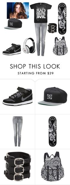 """""""Bad meets Evil"""" by bemyaddiction ❤ liked on Polyvore featuring NIKE, Starter, 7 For All Mankind and Beats by Dr. Dre"""