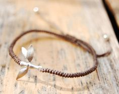 Chinese Knot Bracelet With 14k White Gold Plated Bamboo Charm