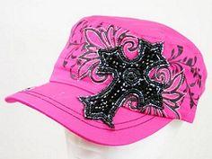 NEW Pink Cap with Black Rhinestone Cross