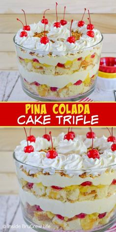 Pina Colada Cake Trifle - Layers of cake, fruit, and no bake cheesecake makes this a must make dessert for summer parties and picnics. Layered Desserts, Easy Desserts, Delicious Desserts, Mini Desserts, Fruit Trifle Desserts, Fruit Triffle, Dessert Trifles, No Bake Summer Desserts, Summer Deserts