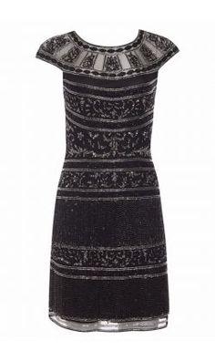 90f0482c58f8 Clara Vintage Inspired Fringe Flapper Dress in Black Silver by Gatsbylady  London Fringe Flapper Dress,