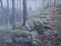 Håvard Oseland. Skogslandskap med gammel steingard.I www.oseland.info