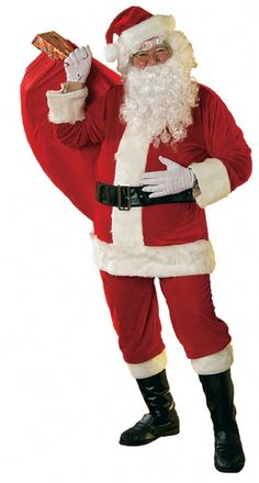 Soft Red Velour Santa Suit Costume - Surprise the kids this Christmas morning with Santa Claus in the living room handing out presents.  The jacket for this Santa suit goes on over the head and has no opening in the front. The jacket has a faux fur trim around the base, the collar and a thick piece down the front of the jacket made to look like a button cover. The jacket fastens with a button behind the neck. #christmas #calgary #yyc #costume #mens