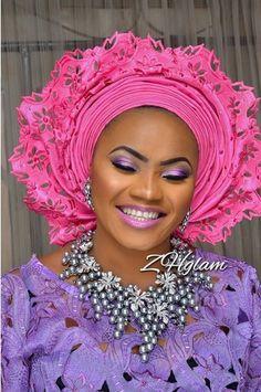 Gele... Nigerian Head Tie Beautiful Gele @flexingstyles247 African Hats, African Attire, African Dress, African Traditional Wedding, African Traditional Dresses, African Beauty, African Fashion, Nigerian Beads, Head Scarf Styles