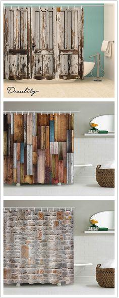 + Shower Curtains to decorate your bathroom - Bathroom 01 Home Interior, Interior Design Living Room, Living Room Decor, Bedroom Decor, Rustic Shower Curtains, Bathroom Curtains, Rideaux Design, Deco Restaurant, Retro Bathrooms