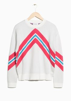 & Other Stories image 2 of Arrow Knit Sweater in White Blue Pink