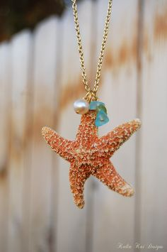 Real Starfish necklace, Real Starfish, Sugar starfish, Hawaiian necklace, necklace, Gold plated chain, sea glass, fresh water pearl by KaliaKaiDesigns on Etsy https://www.etsy.com/listing/108236216/real-starfish-necklace-real-starfish