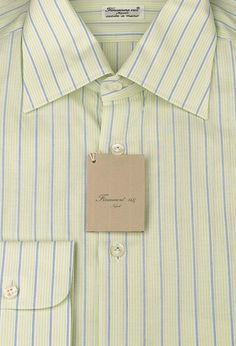 Size Medium 16 Finamore Napoli Purple Stripes Button Down Cutaway Collar Cotton Slim Fit Dress Shirt
