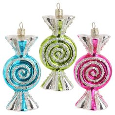 Large wrapped candy ornaments http://www.shelleybhomeandholiday.com/raz-candy-wonderland-5-5-inch-wrapped-glass-candy-ornaments.html