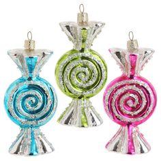 RAZ 5.5 inch Wrapped Glass Candy Ornaments